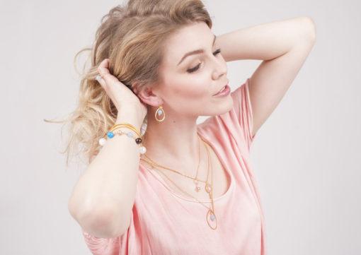"""""""Bluebell""""-Øreringe og halskæde med jade, i guld, sølv og oxideret sølv"""