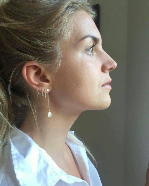 """Kæde-øreringe i sølv -""""Leaves"""" - Foto"""