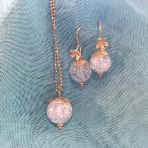 """""""Snowdrop"""" -halskæde og øreringe i guld"""