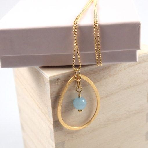 """""""Bluebell""""-Halskæde med jade, i guld, sølv og oxideret sølv"""