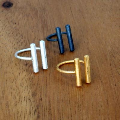 """Ring """"Sunshine"""" i guld, sølv og sort sølv -by Nina Skat"""