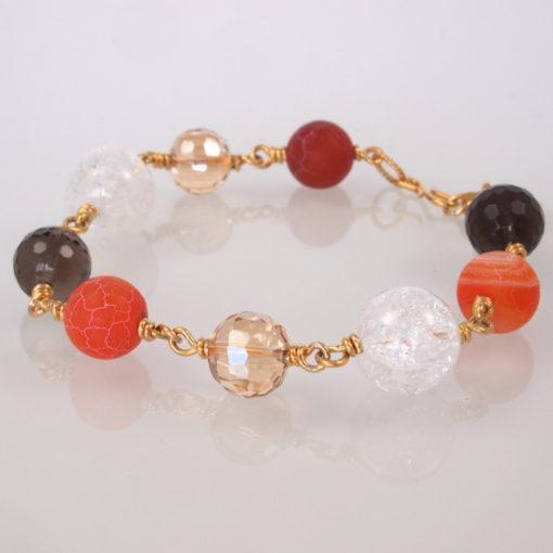 """""""Passionflower"""" -Armbånd med ædelsten og krystaller, i guld, sølv og oxideret sølv"""