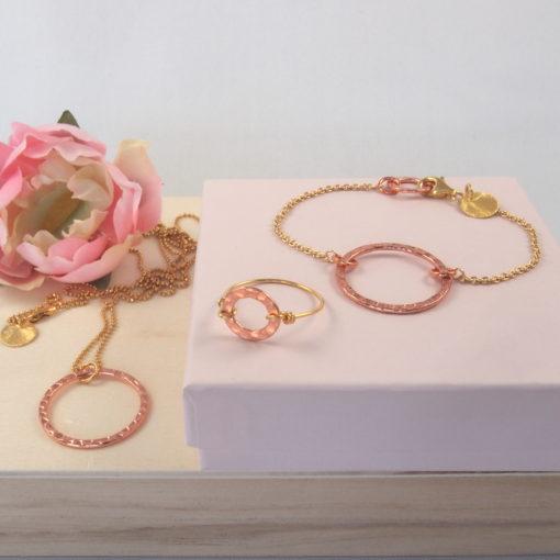 """""""Aster""""-halsKæde, øreringe, ring i guld og kobber"""