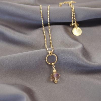 """Freesia""-halskæde i guld, sølv og oxideret sølv"