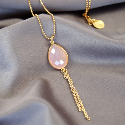 """""""Water Lily""""- Halskæde i guld med pink agat"""