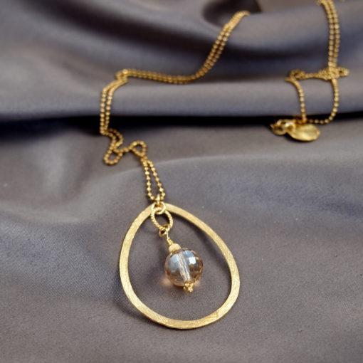 """""""Magnolia""""-Halskæde i guld, sølv og oxideret sølv"""