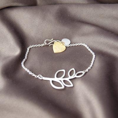 """""""B-leaves in Peace""""- Armbånd i sølv og guld -Foto"""