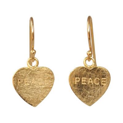 """""""Peace""""- Øreringe med guldhjerte"""