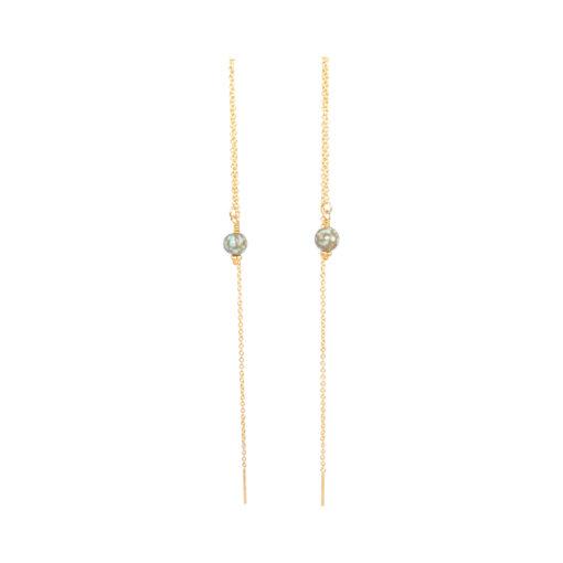"""""""Iris"""", Kæde-øreringe med howlit, i guld, sølv og oxideret sølv"""