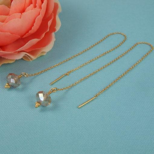 """""""Freesia""""- Kæde-øreringe med krystal, i guld, sølv og oxideret sølv"""