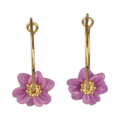 """Øreringe (creoler), med lillafarvet blomst, i guld, sølv og oxideret sølv, """"Clematis"""""""