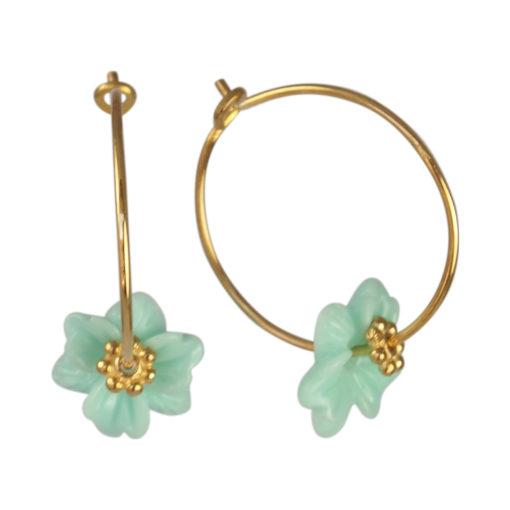 """Øreringe (creoler), med pastelfarvet blomst, i guld, sølv og oxideret sølv, """"Petunia"""""""