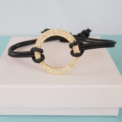 """""""Loveable""""- Armbånd i læder, ring med krystaller"""