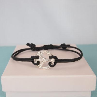 """""""Symbol of Peace"""" -Armbånd i læder og krystal"""