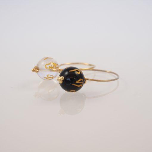 Black Chinese Rose- ægte ringe med sort onyks og krystal