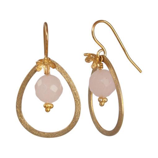 """""""Sweet pea""""-Øreringe med rosakvarts, i guld, sølv og oxideret sølv"""