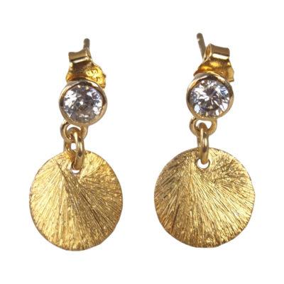 """""""Coins of Hope""""- Øreringe med mønter og zirkon, i guld"""