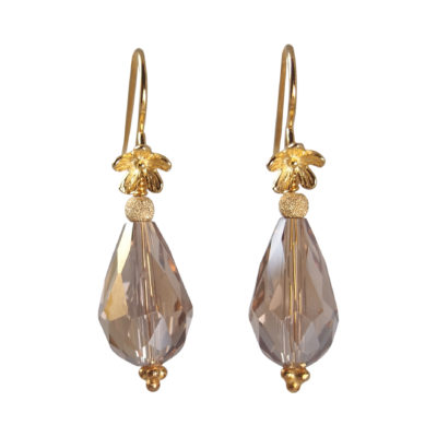 "Øreringe med krystal, i guld, sølv og oxideret sølv, ""Rosemary pearl"""
