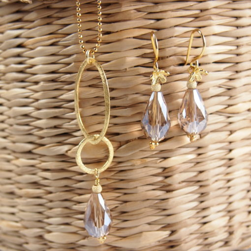 """Circles""-smykkeserie, ""Rosemary pearl""-Øreringe og halskæde med krystal, i guld, sølv og oxideret sølv -Foto"