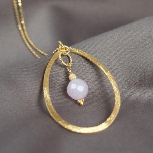 """""""Sweet pea""""-Halskæde med rosakvarts, i guld, sølv og oxideret sølv"""