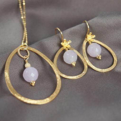 """""""Sweet pea""""-Halskæde og øreringe med rosakvarts, i guld, sølv og oxideret sølv"""