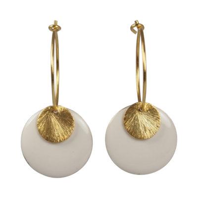 """Øreringe (creoler), med hvid emaljeskive, i guld, sølv og oxideret sølv, """"Orchid"""""""