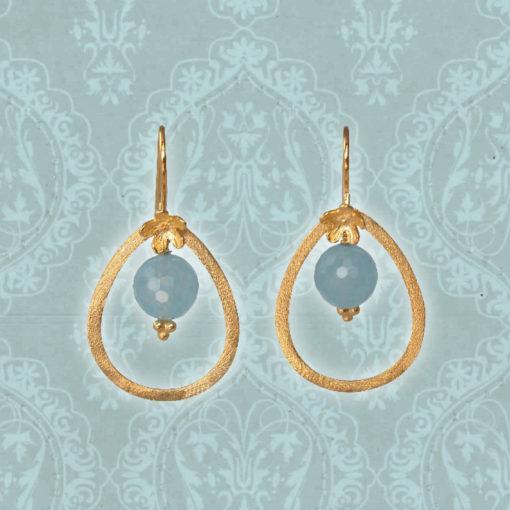 """""""Bluebell""""-Øreringe med jade, i guld, sølv og oxideret sølv"""