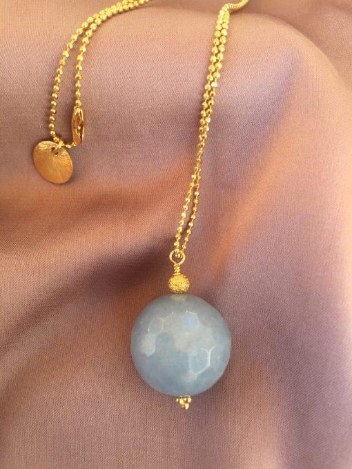 """""""Ocean in the mist"""" -Halskæde med akvamarin i guld, sølv og oxideret sølv"""