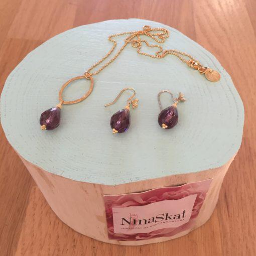"""""""Dara pearl""""-Halskæde og øreringe med krystal, i guld, sølv og oxideret sølv"""