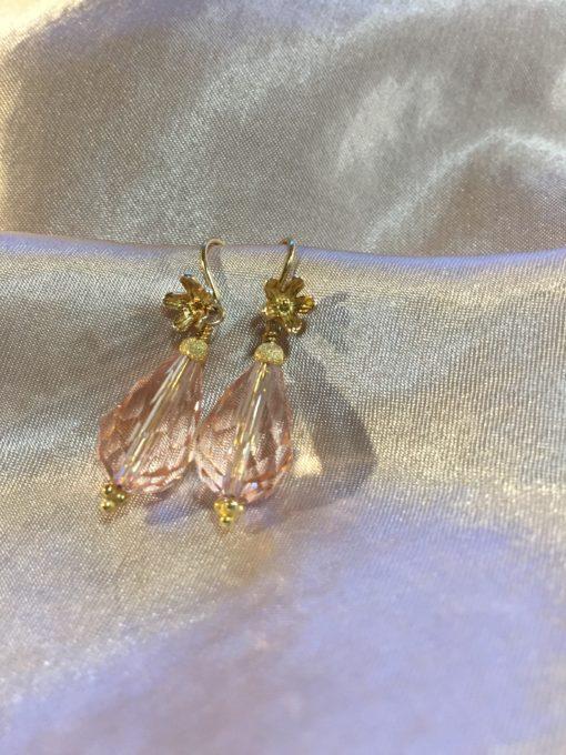 Heather pink pearl -øreringe i forgyldt sølv med krystal -by Nina Skat