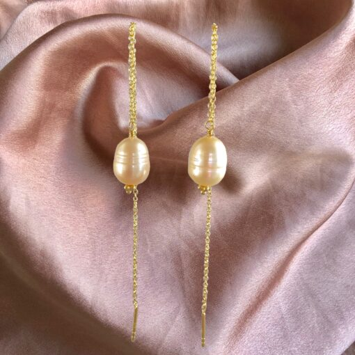 "Øreringe med ferskvandsperle, ""Pearl chain"" -Foto"