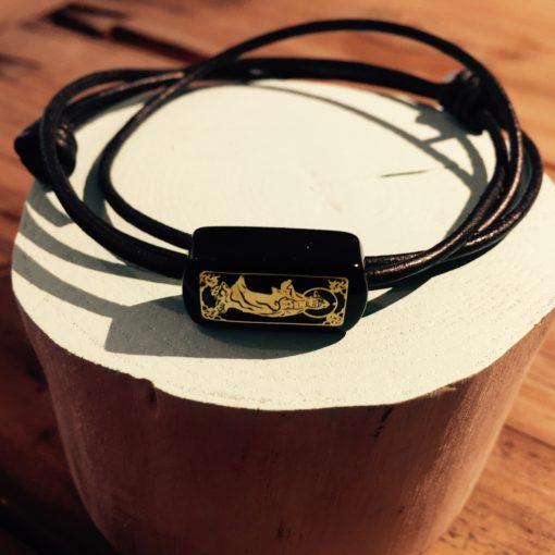 """Armbånd i sort læder med sort onyx med orientalsk look """"China"""" -Foto"""