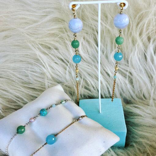 "Øreringe med blå jade og kalcedon, ""Blue Sky"" -Foto"