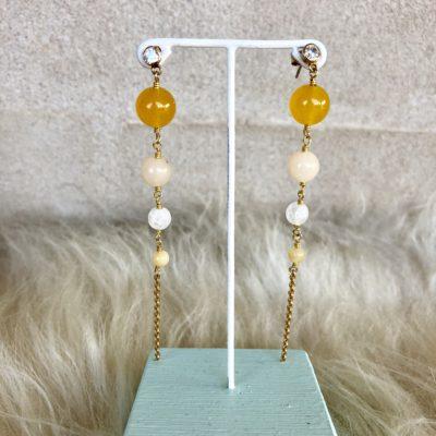 "Øreringe med gul jade og bjergkrystal, i forgyldt sølv, sølv og oxideret sølv, ""Yellow love"" -Foto"