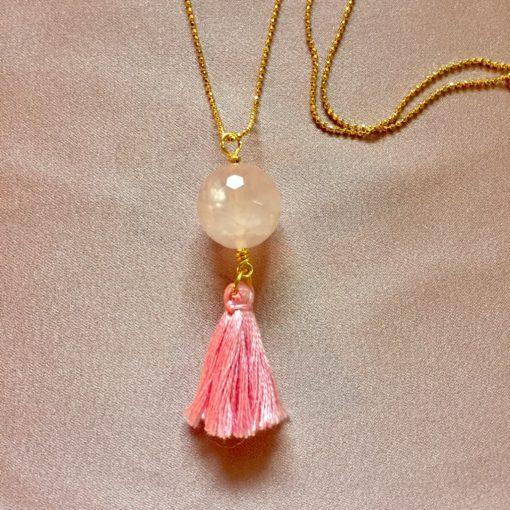 Halskæde med rosakvarts og kvast. Smykker til kvinder.