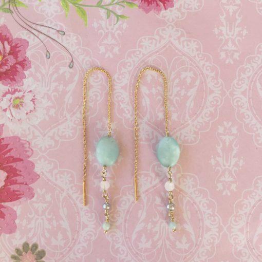 """Kæde-øreringe forgyldt sølv, """"Blue pastel"""" -Foto"""