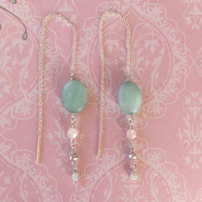 """Kæde-øreringe, sølv, """"Blue pastel"""" -Foto"""