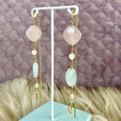 """Øreringe i pastelfarver, i forgyldt sølv sølv og oxideret sølv, """"Rosebuds"""" -Foto"""