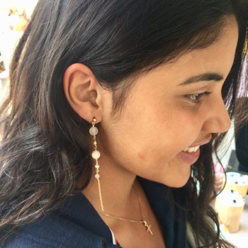 """Lange øreringe i pudderfarver """"Powder blossom"""" -Foto"""