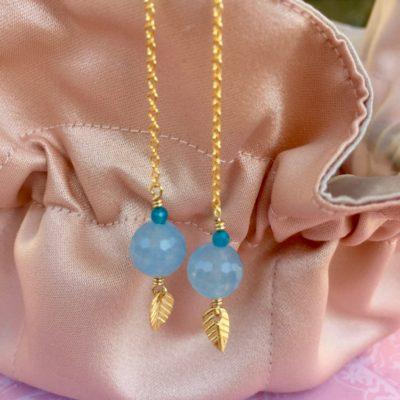"""Kæde-øreringe forgyldt sølv med blå jade, """"Blue"""" -Foto"""