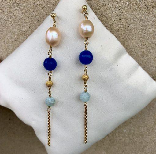 """Øreringe med marineblå ædelsten og ferskvandsperle, i forgyldt sølv, sølv og oxideret sølv, """"Marine"""" -FPTP"""