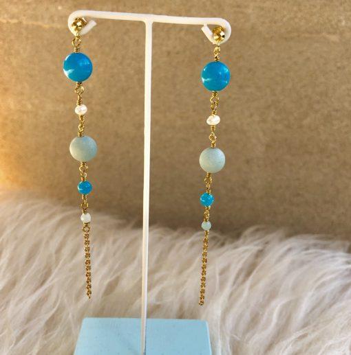 "Lange blå øreringe med jade og perler ""Butterfly""-Foto"