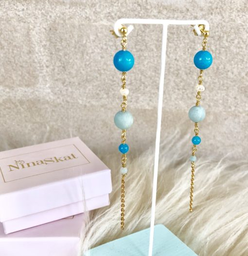 "Lange blå øreringe med jade og perler ""Butterfly"" -Foto"