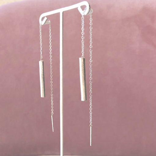 Sunshine, øreringe med kæde, sølv -Foto