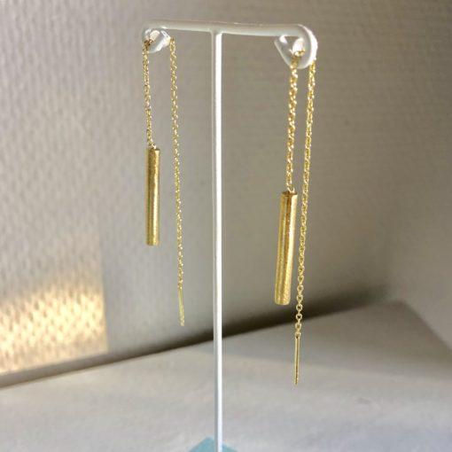 Sunshine, øreringe med kæde, forgyldt sølv -Foto