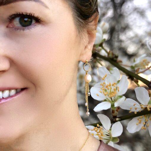 """Øreringe med perler """"Cherries"""" -Foto"""