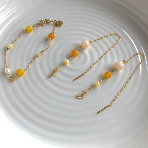 """Lange gule øreringe med sten og perler """"Yellow touch"""" -Foto"""