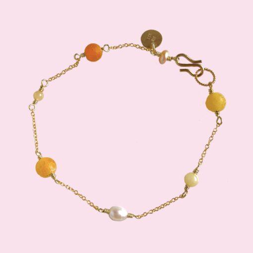 """Armbånd med små perler, """"Yellow touch"""" -Foto"""