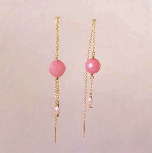 """Øreringe med pink agat, koral og ferskvandsperle """"Pink drops"""" -Foto"""
