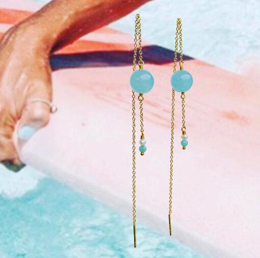 """Øreringe med blå jade, amazonit og ferskvandsperle """"Cool drops 2"""" -Foto"""
